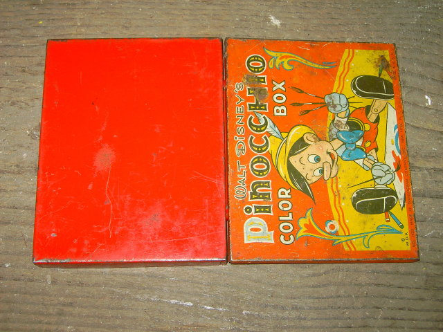 WALT DISNEY PINOCCHIO PAINT BOX TIN STORAGE CANNISTER TRANSOGRAM NEW YORK CITY MANUFACTURER MARK