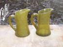 GREEN STRETCH ART GLASS PITCHER BUBBLE FILLED CREAMER