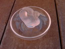FRANCE LALIQUE SWAN BOWL DRESSER TOP JEWELRY DISH FRENCH ART GLASS