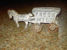 FRESH MILK WAGON HORSE CART CAST IRON TOY