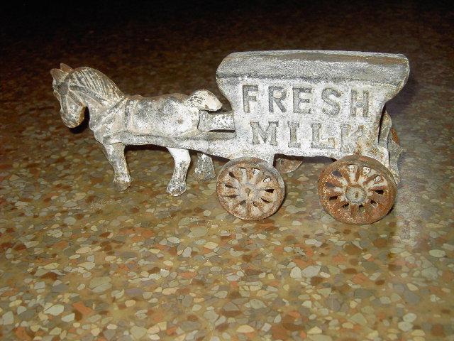 FRESH MILK WAGON HORSE CART CAST IRON TOY