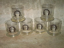 HORSESHOE STEAK HOUSE BAR GLASS FULLERTON NEBRASKA LOUNGE ADVERTISING CUP SET 1979