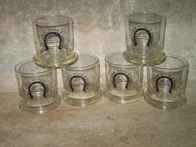HORSESHOE STEAK HOUSE BAR GLASS FULLERTON NEBRASKA LOUNGE ADVERTISING CUP SET 1979