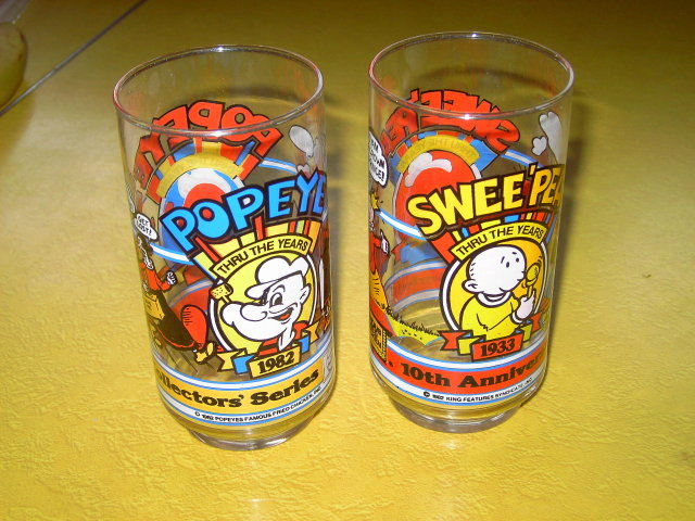 POPEYE SWEET PEA CARTOON GLASS FRIED CHICKEN ADVERTISING TUMBLER