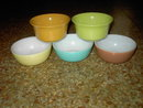 HAZEL ATLAS GLASS CEREAL SOUP BOWL COLORFUL TABLEWARE