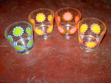 FLORAL FLOWER BAR GLASS FLOWERED LOUNGE TUMBLER SET