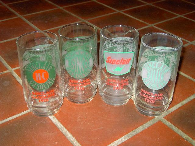 SINCLAIR GASOLINE TUMBLER BAR LOUNGE GLASS SET
