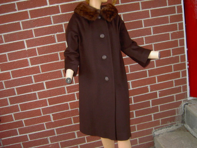 DEL MAR RICE LADIES WINTER COAT MINK FUR COLLAR BROWN COLOR 1950'S