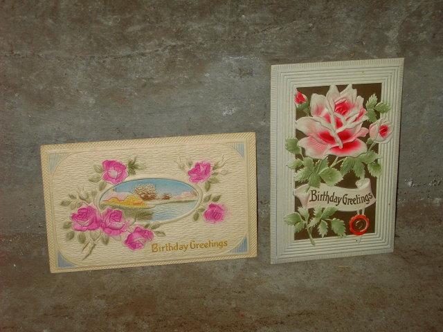 BIRTHDAY GREETING POST CARD VICTORIAN ERA FLOWERED PRINTS