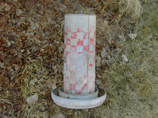 RALSTON PURINA CHICKEN BIRD FEEDER SEED TUBE GALVINIZED STEEL FEED TROUGH FARM POULTRY TOOL