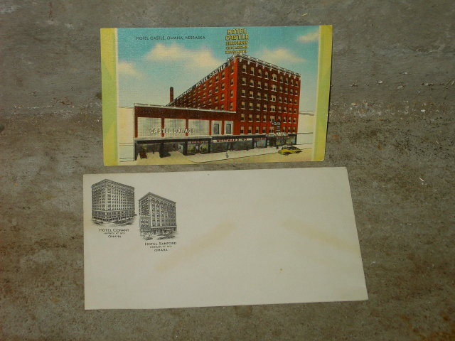 HOTEL CASTLE OMAHA NEBRASKA PICTURE POSTCARD SANFORD CONANT ADVERTISING ENVELOPE