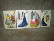 SEVILLA VALENCIA MADRID SPAIN SPANISH GIRL POSTCARD THREAD STITCH MAIL CARD