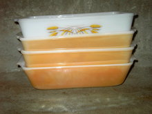 FIREKING ANCHOR HOCKING BAKING DISH MEAT LOAF PAN PEACH LUSTER COPPER TINT WHEAT PATTERN GLASS