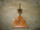 ELKS GOLF TOURNAMENT GOLFER TROPHY GOLFING AWARD CUP 1954 DATED MANTLE DECORATION