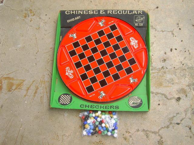 TIN METAL CHINESE CHECKER GAME BOARD OHIO ART ORIGINAL CARDBOARD STORE BOX