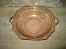 MAYFAIR OPEN ROSE PINK DEPRESSION GLASS BOWL TAB HANDLE SERVING DISH