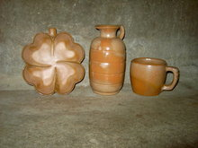 FRANKOMA BROWN GLAZE POTTERY MUG SAUCE PITCHER JUG CLOVER LEAF ASHTRAY RELISH BOWL