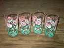 FLOWERED GLASS TUMBLER FLORAL PATTERN BEVERAGE GLASSES