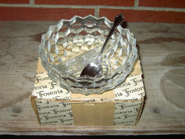 AMERICAN FOSTORIA RELISH BOWL DIVIDED DISH ONEIDACRAFT SERVER SPOON ORIGINAL STORE BOX