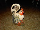 WOODEN ROOSTER CHICKEN FIGURINE STATUE