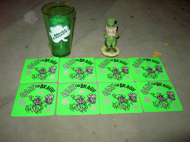 SAINT PATRICKS DAY IRISH TOAST FIGURINE OLY OLYMPIA BEER STICKER DECAL BUDWEISER BUD LIGHT GREEN PLASTIC SHAMROCK TUMBLER CUP