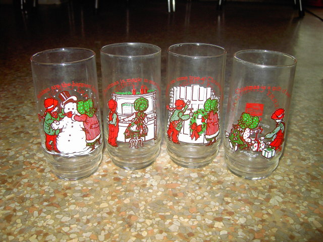 COKE HOLLY HOBBIE CARTOON GLASS TUMBLER 1978 AMERICAN GREETINGS COCA COLA CUP SET