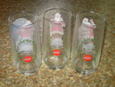 COKE SANTA CLAUS HADDON SUNBLOM GLASS TUMBLER SET COCA COLA SERIES TWO