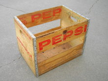 PEPSI COLA SOFT DRINK ADVERTISING BOX WOODEN TOTE POP BOTTLE CARRY CRATE