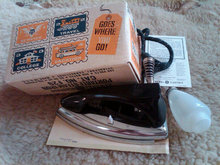 General Electric Travel Style Portable Steam Iron Bridgeport Connecticut Advertising Box Early Retro Era Seamstress Appliance