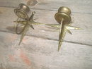 INDIA BRASS STAR FLORAL FLOWER CANDLEHOLDER WALL DECORATION