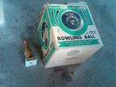 COLUMBIA BOWLING BALL BOX WOODEN PIN MARBLE BASE TROPHY 1950'S ERA LANE COLLECTIBLES