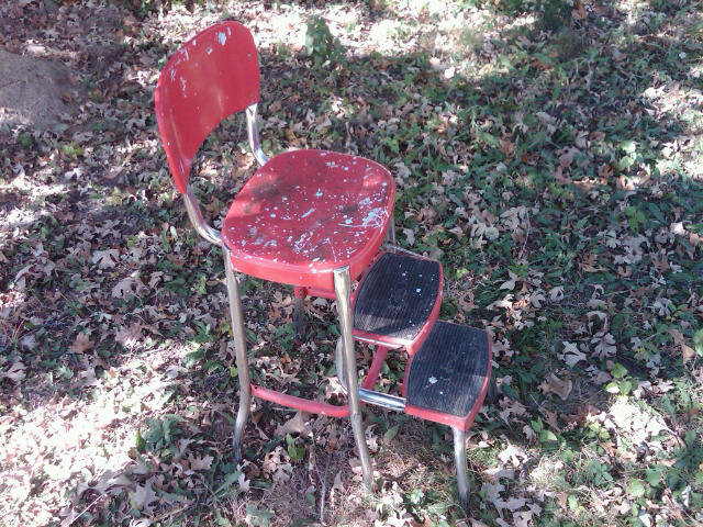 STEEL KITCHEN STOOL FOLD OUT STEP LADDER 1950'S ERA METAL SEAT