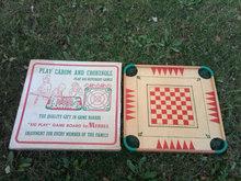 CAROM CROKINOLE WOODEN GAME BOARD GAMING DEVICE MERDEL LUDINGTON MICHIGAN ORIGINAL BOX