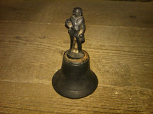 CAST IRON BELL COLONIAL MAN HANDLE TOP FIGURINE STATUE