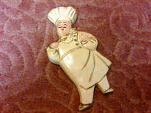 CHALKWARE COOK CHEF WALL DECORATION PLASTER CHALK BAKER DECORATIVE PLAQUE