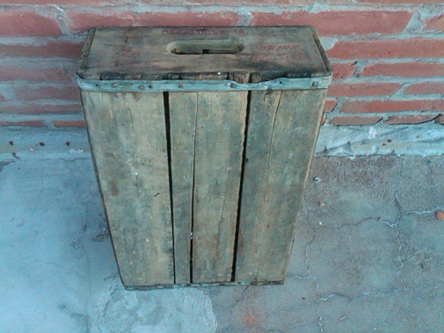 OSKALOOSA IOWA TOWN STAMP PEPSI COLA CRATE WOOD BOX SOFT DRINK BOTTLE TOTE CARRIER CASE