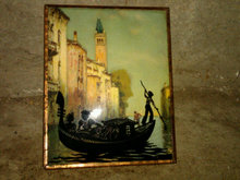 ROMANTIC COUPLE ROWBOAT SILHOUETTE CURVED GLASS PICTURE EUROPEAN HOUSE BOAT PRINT
