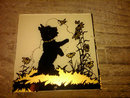 BLACK SCOTTY DOG SILHOUETTE REVERSE PAINTED GLASS SQUARE WALL DECORATION