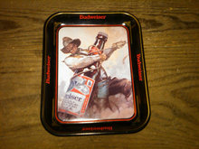 BUDWEISER COWBOY LONG NECK BEER BOTTLE BEVERAGE SERVING TRAY ANHEUSER BUSCH ADVERTISING STEEL PLATTER