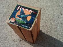 HOMER BRAND VALENCIA ORANGE CRATE WOOD PRODUCE BOX FLYING PIGEON BIRD SUNKIST CORONA CALIFORNIA PAPER ADVERTISING LABEL