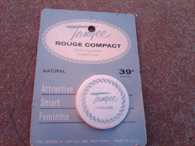 TANGEE ROUGE COMPACT COSMETIC MAKEUP ACCESSORY GEORGE LUFT NEW YORK STORE DISPLAY ADVERTISING CARD