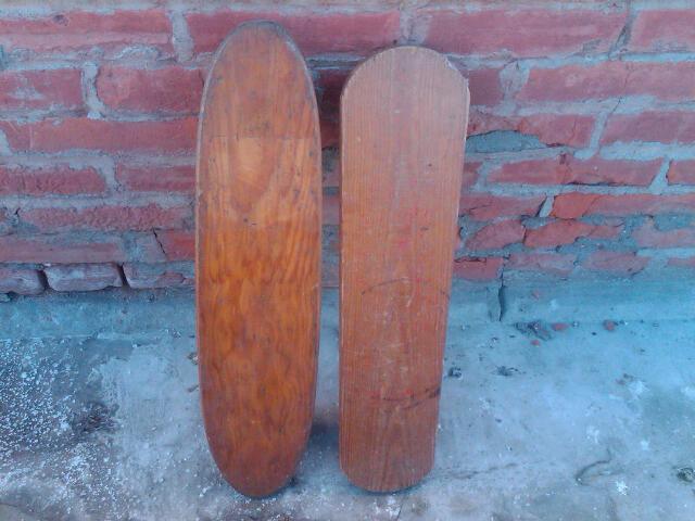 RETRO WOOD SKATEBOARD STEEL RUBBER WHEEL ROLLING BOARD TOY