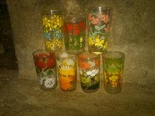FLORAL FLOWER FRUIT PATTERN COLORFUL GLASS TUMBLER RETRO DRINK BEVERAGE UTENSIL