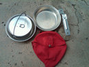 BOY SCOUTS OF AMERICA MESS PAN COOKING POT RED COTTON CARRY BAG REGAL ALUMINUM MARK
