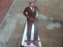 JOHN F KENNEDY STAND UP POSTER SIGN FULL BODY SIZE CUTOUT TOM KELLEY STUDIOS PITTSBURG CALIFORNIA POLITICAL PROMOTION DECORATION