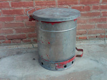 GALVANIZED STEEL TRASH CAN PEDAL DRIVE FLIP TOP WASTE BUCKET TUB