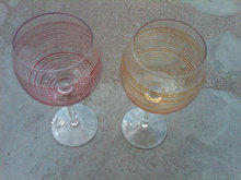 RETRO RED YELLOW STRIPE WINE STEM GLASS BAR GLASSES