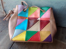 COLORFUL RAINBOW VINYL PURSE RETRO HANDBAG TOTE HAYGOOD TIGARD OREGON ADVERTISING TAG