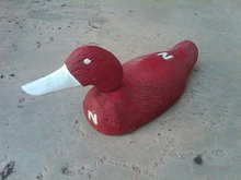 NEBRASKA CORNHUSKER PAINTED DUCK DECOY WOODEN HUSKER ORNAMENT