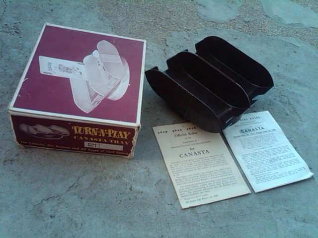 TURN N PLAY CANASTA TRAY CARD GAME ACCESSORY SANFORD PRODUCTS ST LOUIS MISSOURI ORIGINAL BOX